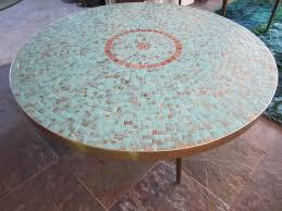 glass stunning mosaic tile top circular coffee tables mid