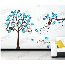 stickers décoration chambre bébé stickers deco chambre garcon modale bleu singe et arbres stickers