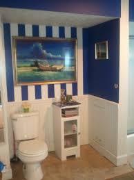 Striped Wallpaper Bathroom 35 Best Nautical Bathroom Images On Pinterest Beach House