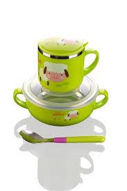 animal mug 3pcs kids stainless steel dinner set cute animal design dishes