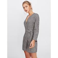 houndstooth dress surplice neckline self tie houndstooth dress shop chriss zoe