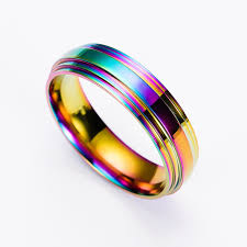 titanium wedding rings fashion men titanium ring high quality rainbow titanium wedding