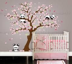 stickers panda chambre bébé fleur de cerisier wall sticker ludique pandas dans cherry