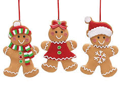 set of 3 gingerbread cookie tree ornaments adorable