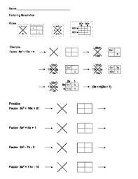 factoring quadratic expressions using x box method by aric thomas
