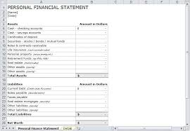 Financial Statements Templates For Excel 8 Personal Financial Statement Templates Excel Templates