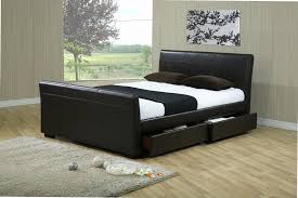 black leather king size sleigh bed frame with drawers storage idolza