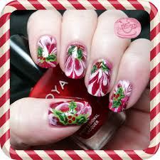 holly on gold nail art design tutorial for christmasnail art