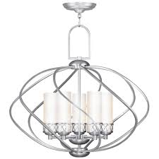 Chandelier With White Shade Brushed Nickel Chandelier With Shades Roselawnlutheran