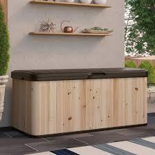suncast extra large cedar and plastic 120 gallon deck box