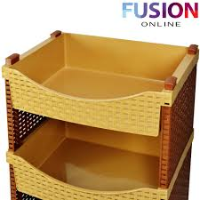 4 tier rattan plastic vegetable fruit rack basket kitchen storage