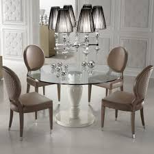 designer italian leather dining chair and glass dining table set