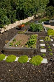 raised flower beds landscape midcentury with vegetable garden