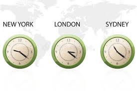 set of clock showing time around the world royalty free stock