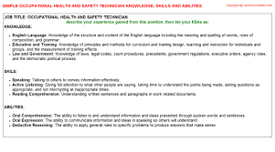 Occupational Health And Safety Resume Examples by Occupational Health And Safety Technician Knowledge U0026 Skills