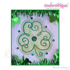 embroitique curly clover shamrock applique small