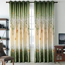 Orange Curtains For Living Room Amazon Com Green Leaf Tree Curtains Living Room Anady Top 2