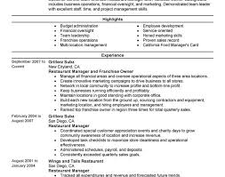 resume stunning resume finder restaurant manager job description