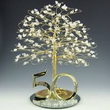 50th wedding anniversary cake toppers 50th anniversary cake topper tree sculpture gold and clear quartz