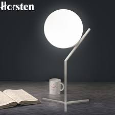 White Nightstand Lamps Horsten E27 Table Lamp Nordic Minimalism Modern Glass Ball Bedside