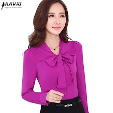 formal blouse fashion sleeve shirt business formal bow white