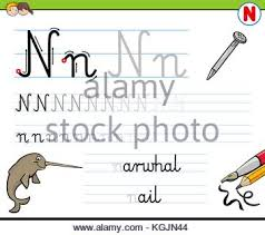 cartoon illustration of writing skills practice with letter a