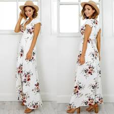 women boho style long dress v neck short sleeve beach summer