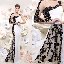 2014 white formal mermaid evening dresses with black lace applique
