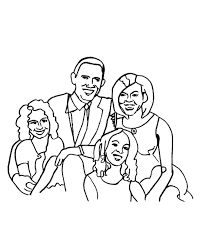 usa printables president barack obama first family coloring page
