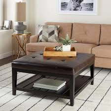 overstock ottoman coffee table abbyson manchester brown bonded leather square coffee table