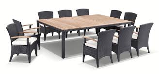 kai 10 11 piece raw natural teak and wicker outdoor dining