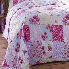 superb quality shabby pink chic cotton floral patchwork bedspread