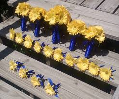 Royal Blue Corsage And Boutonniere Beach Modern Rustic Blue Yellow Barn Beach Bouquet Boutonniere