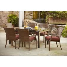 Outdoor Furniture Syracuse Ny by Hampton Bay Tobago 7 Piece Patio Dining Set With Burgundy Cushions