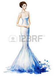 watercolor fashion illustration beautiful young in a long