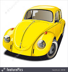 volkswagen bug yellow auto transport old fashioned yellow car stock illustration
