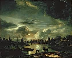 c scene by moonlight 1645 50 aert van der neer oil painting