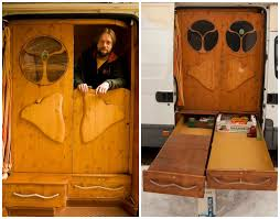 trailer homes interior amazing diy van conversion even boasts a wood burning stove and