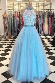 cute blue lace top tulle prom dress ball gown prom dresses for