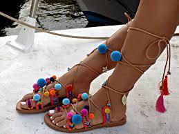 tie up gladiator sandals handmade sandals gladiator sandals pom