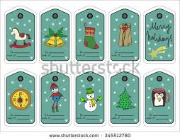 christmas gift tags stickers labels template stock vector