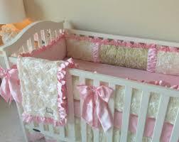 crib bedding ivory roses crib sets for girls fancy