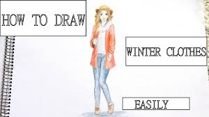 how to draw a in winter clothes youtube