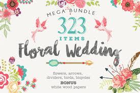 wedding floral huge 323 collection eps design bundles