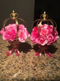 crown centerpieces princess theme centerpieces pink and gold diy