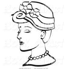 vector clip art of a coloring page of a pretty young woman wearing