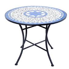 Patio Round Tables Mosaic Patio Round Table 70cm Garden Outdoor Bistro Metal Modern
