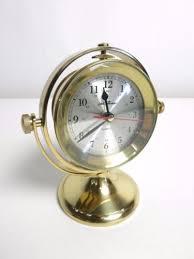 Nautical Desk Clock Seth Thomas 1044 Brass Schooner Gimbal Nautical Desk Quartz Ship