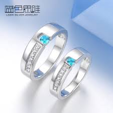 his and rings set blue sweet rings blue cubic zirconia promise rings set