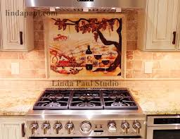 kitchen mural backsplash the vineyard tile murals tuscan wine tiles kitchen backsplashes